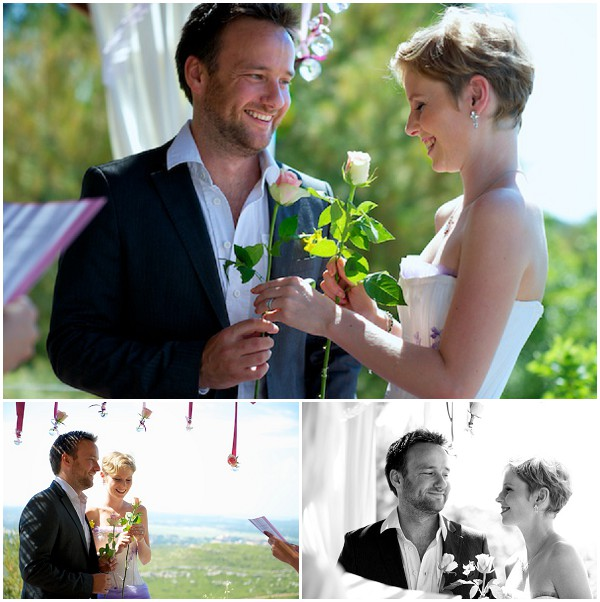 exchanging of roses during wedding ceremony  / Photography © Ben & Aurore Photos