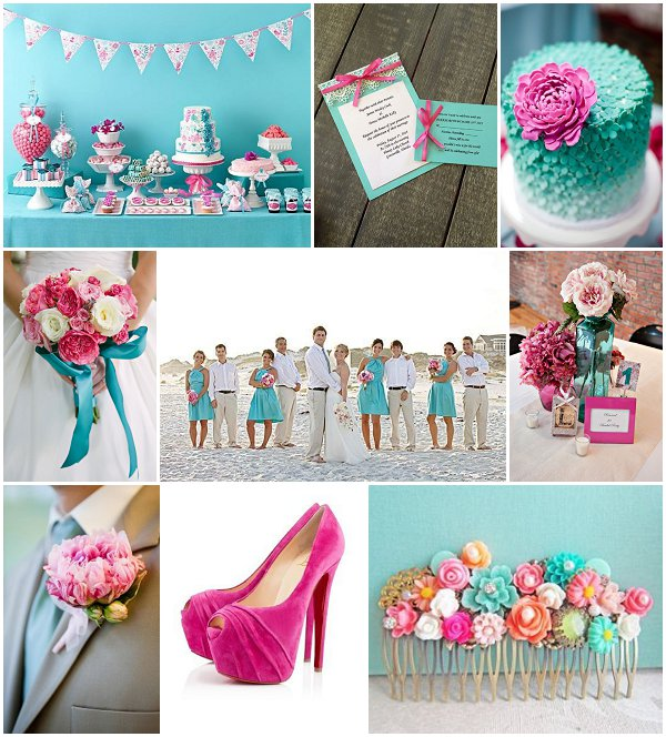 aqua wedding ideas pink