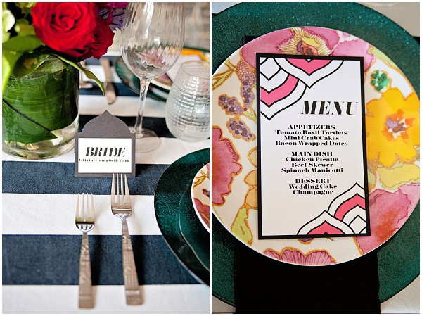 Bold weddind table colors with stylish stationery Black and white wedding table with bold colours / Photography: Cinnamon Dreams  / Styling: Query Events /  French Wedding Style