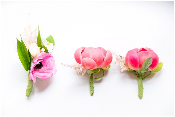 pink flower buttonholes