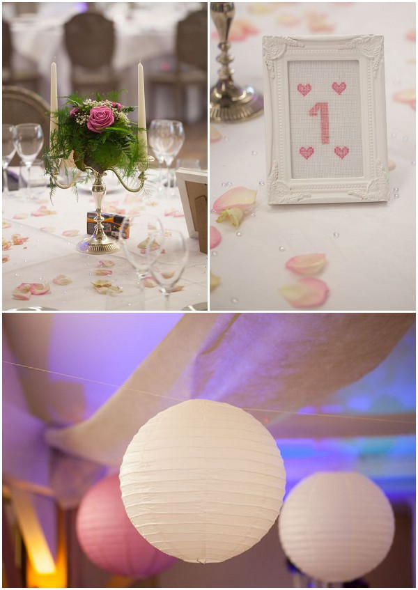 pink white wedding decorations