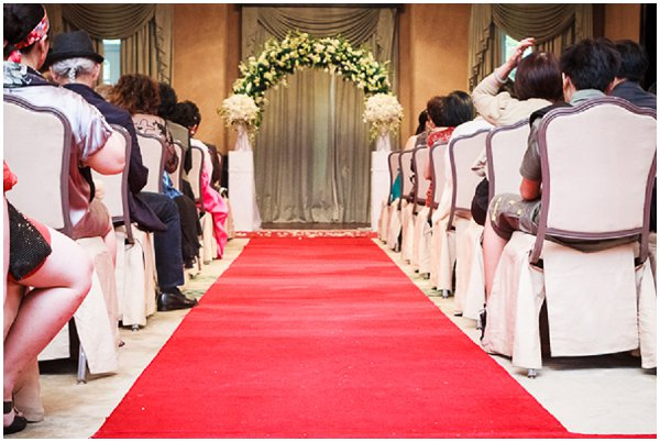red carpet wedding aisle