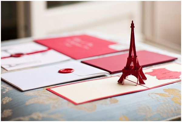 red white paris stationery