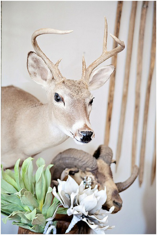 stuffed deer prop rustic wedding