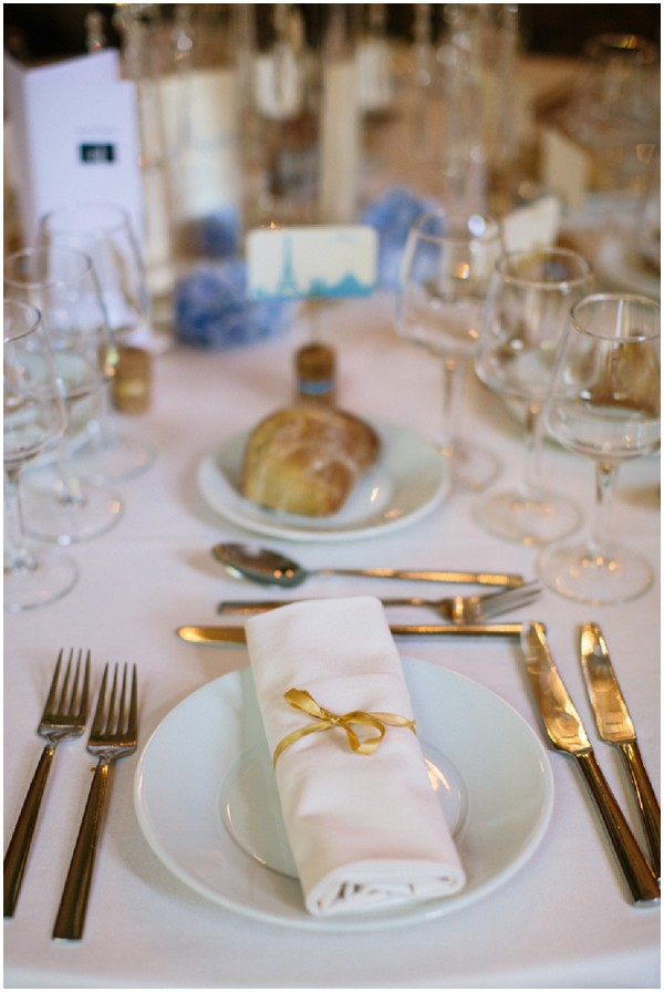 blue gold wedding table