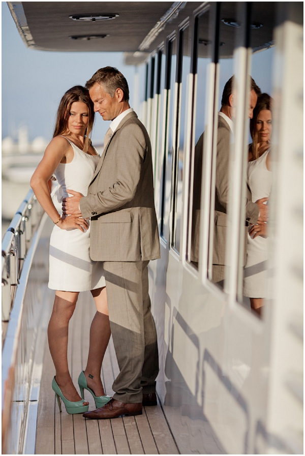 Couple on boat in Monaco | Photography © Katy Lunsford on French Wedding Style Blog