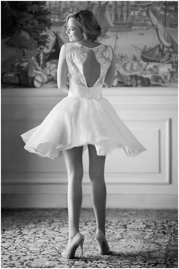Introducing french wedding dress designer fabienne alagama for Cute short white wedding dresses