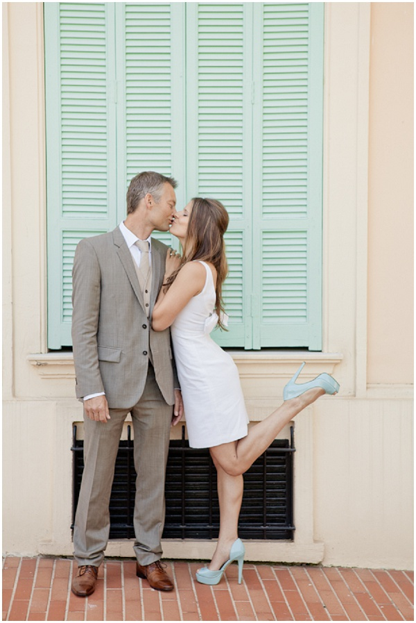 Matching mint shoes and shutters