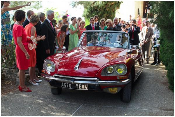 red retro wedding car