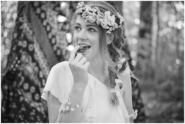 black white boho bride