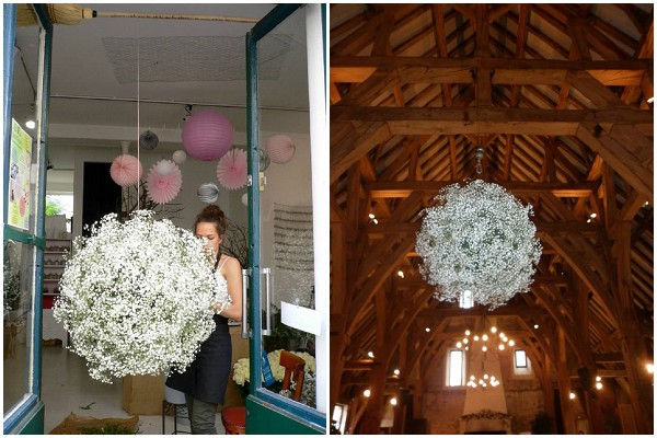 creating babys breath hanging ball