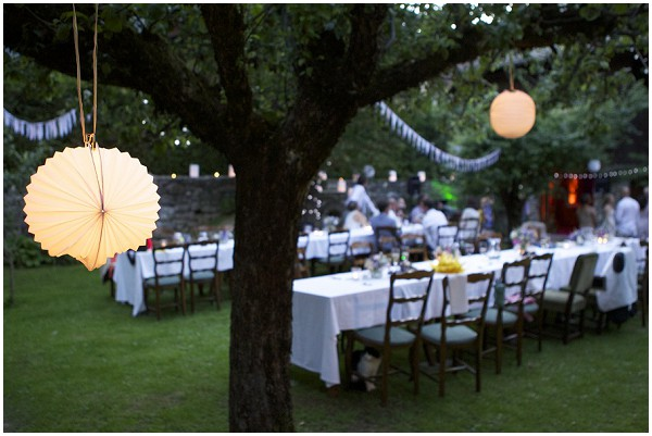 Evening garden wedding reception