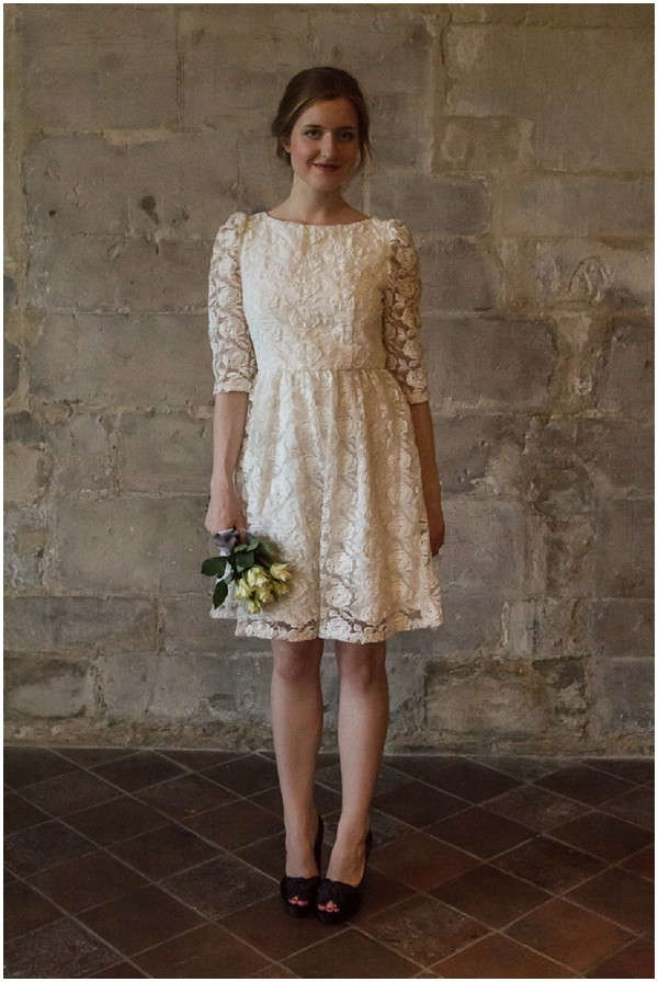 french short lace wedding dress