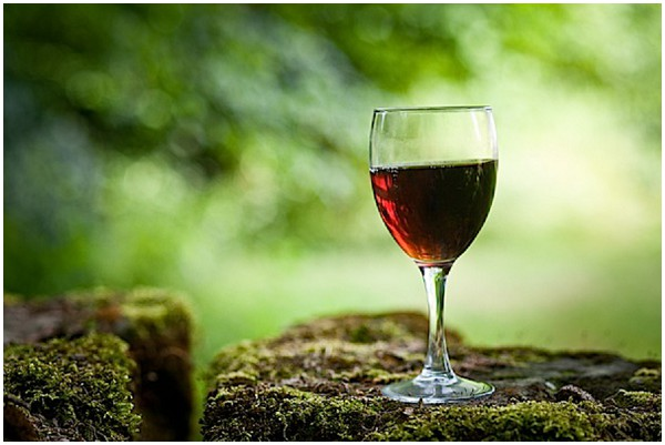 glass of red wine outdoors