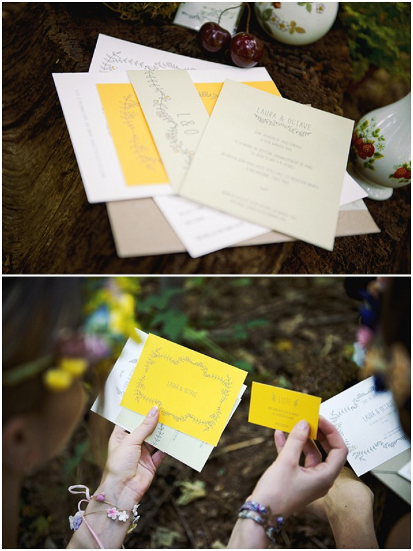 yellow wedding stationery
