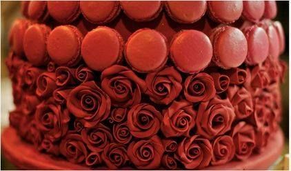 red macaron cake with roses