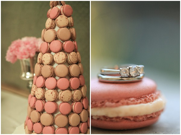 Pink and caramel macaron wedding cake | Melissa Barrick Photography