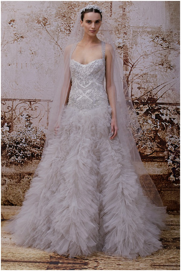 Grey wedding dress Monique Lhuillier