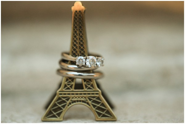 Paris wedding rings, on mini Eiffel Tower | Melissa Barrick Photography