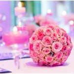 pink wedding flower ball