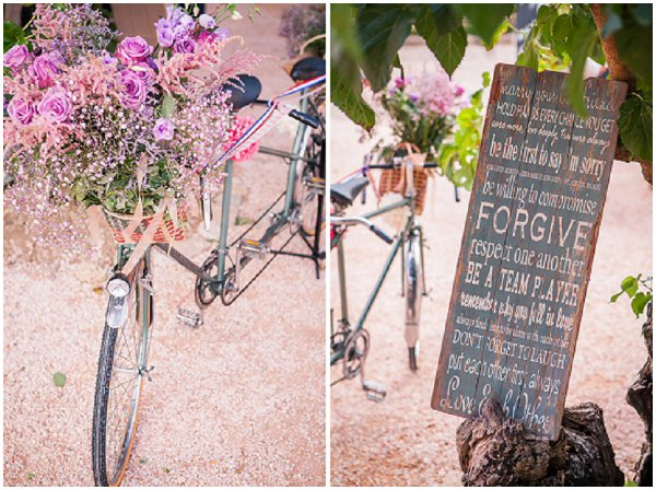 vintage bike as a wedding prop