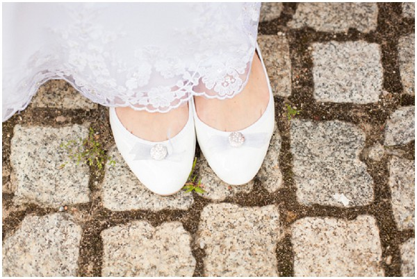 cute flat white bridal pumps