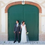 green door wedding backdrop