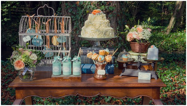 mint peach dessert table