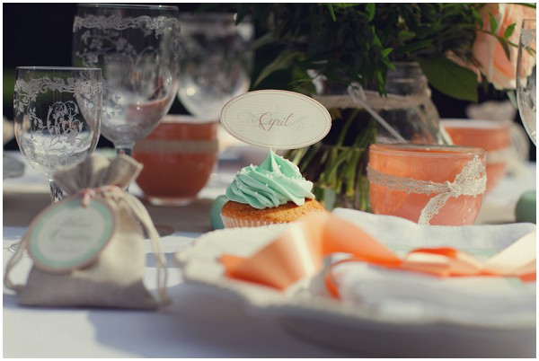 mint peach wedding table