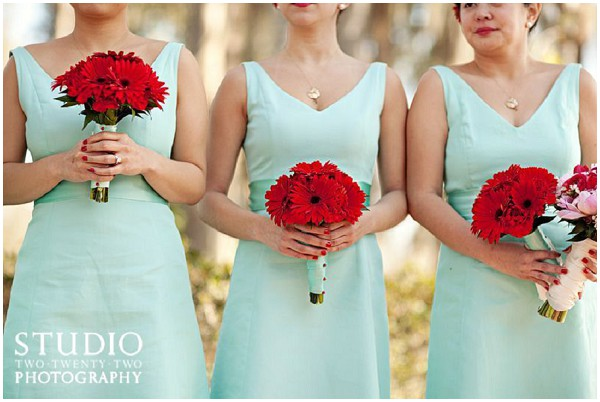 mint red bridesmaids