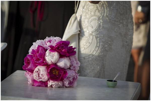 pink white bride bouquet