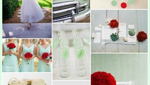 retro mint red wedding ideas