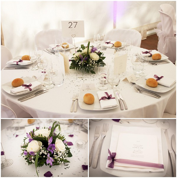 Simple classic wedding table - radiant orchid color
