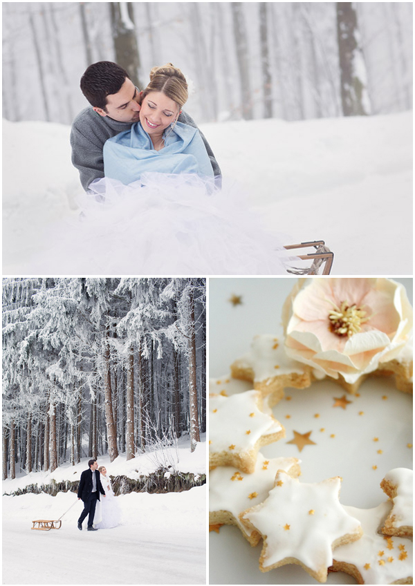 Winter wedding-couple in the snow-bredele