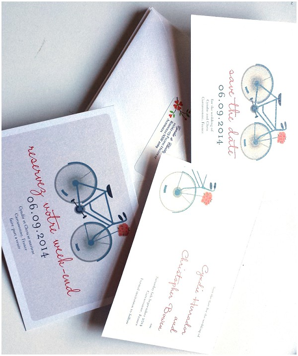 bike wedding stationery