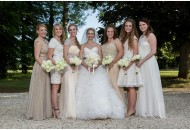 bride mismatched bridesmaid