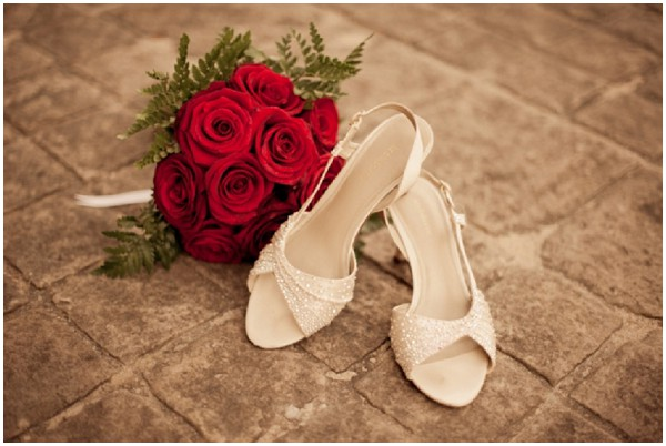 red bouquet shoes