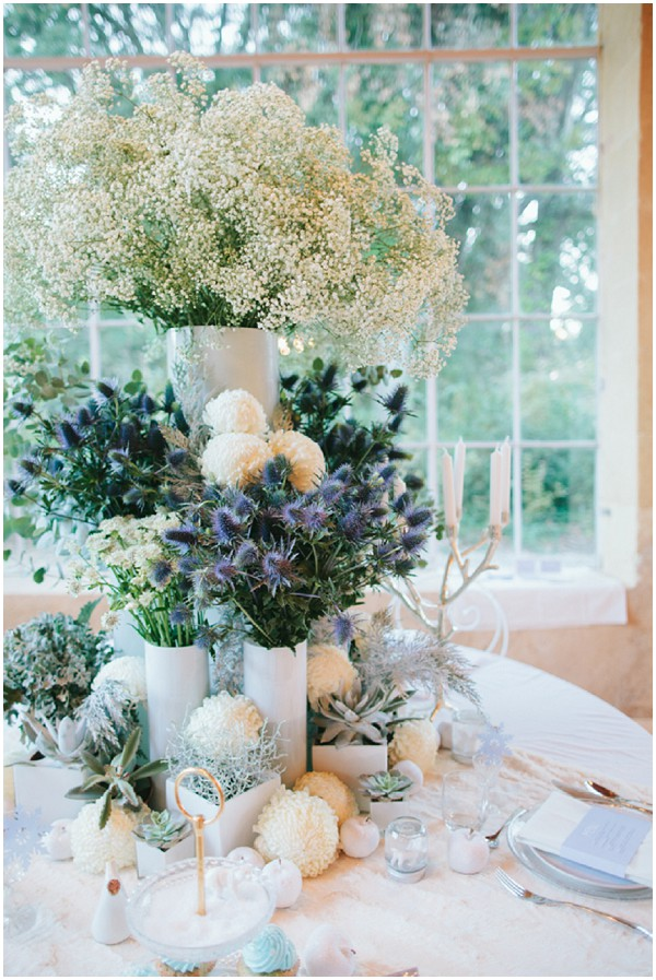 white blue floral display