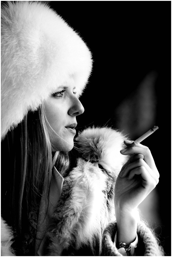 winter bride smoking