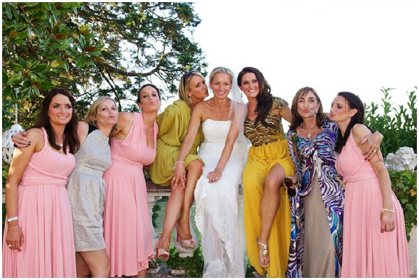 mismatched bridesmaids in colours and prints | Image by Stephenson Imagery