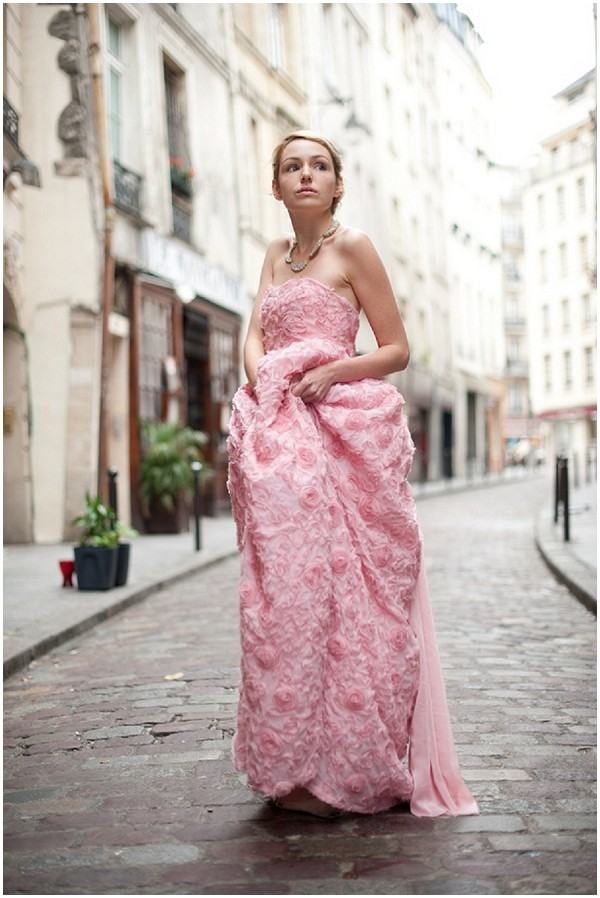 Romantic pink wedding dress on the streets of paris for Wedding dresses in paris france