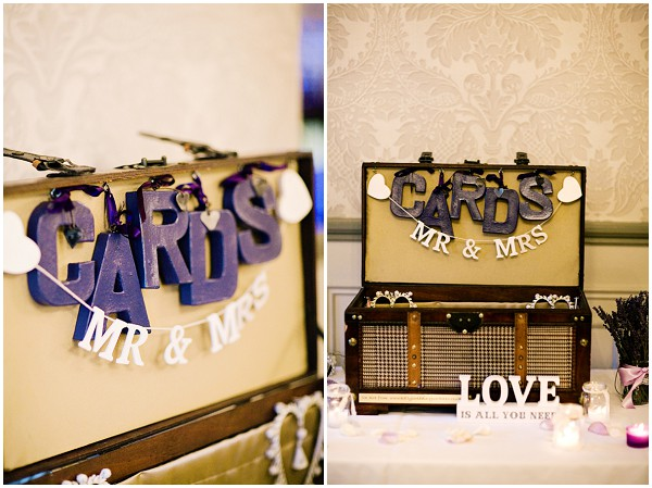 purple card wedding sign