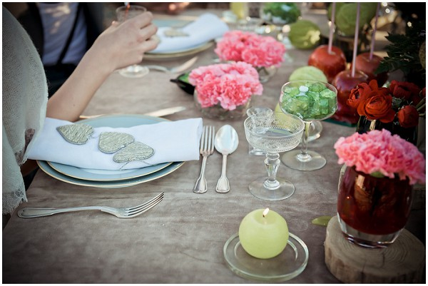 vintage wedding with colourful decorations