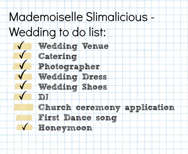 Mademoiselle slimalicious ticking off wedding to do list junglespirit Gallery