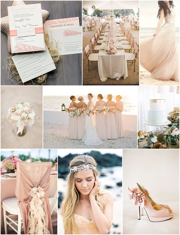 Beach Wedding Inspiration - Blush Beach Wedding Dress