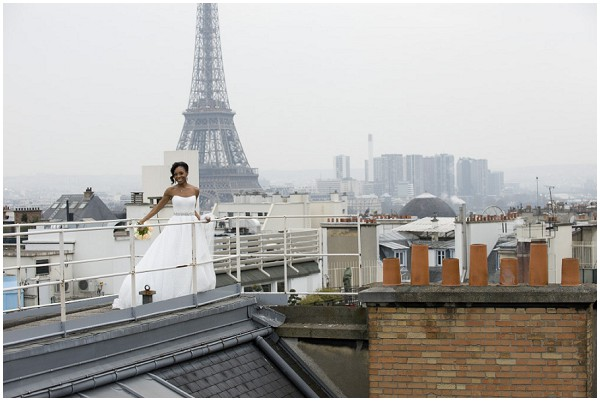 bride on rooftop Paris