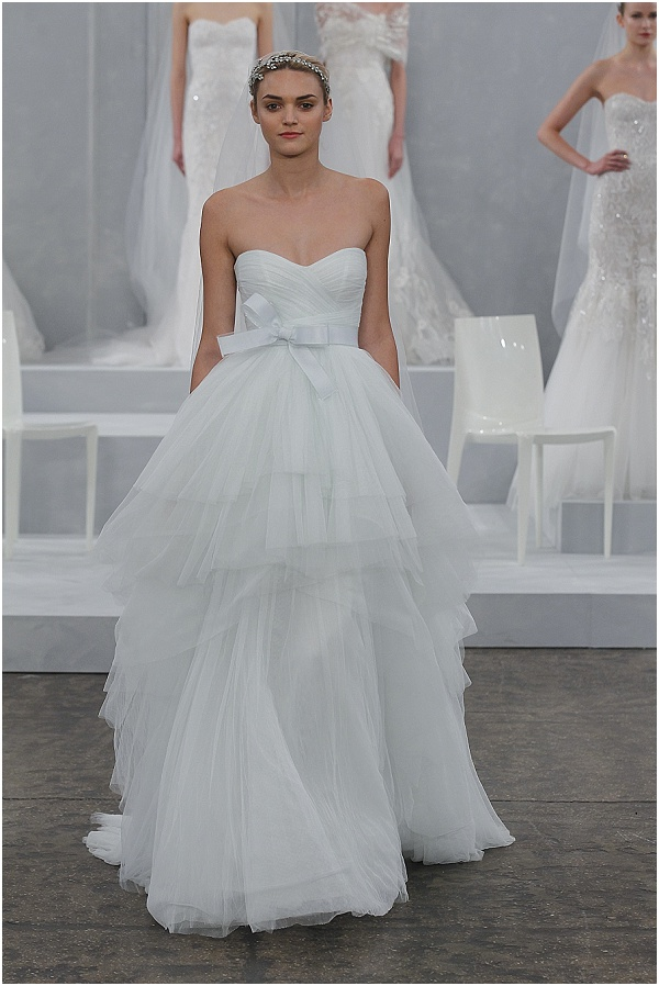 mint wedding dress by Monique Lhuillier