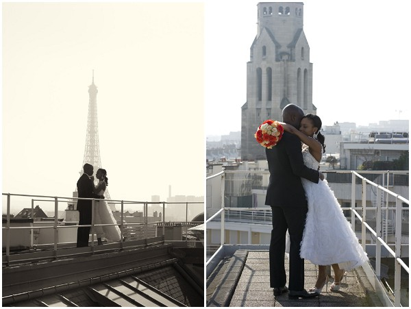 newlyweds paris roof top
