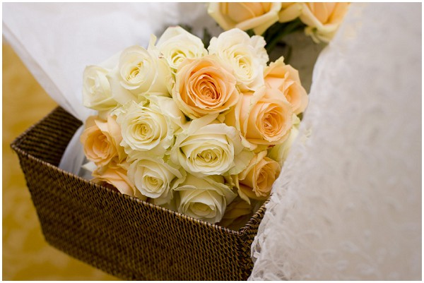 peach and white wedding flower
