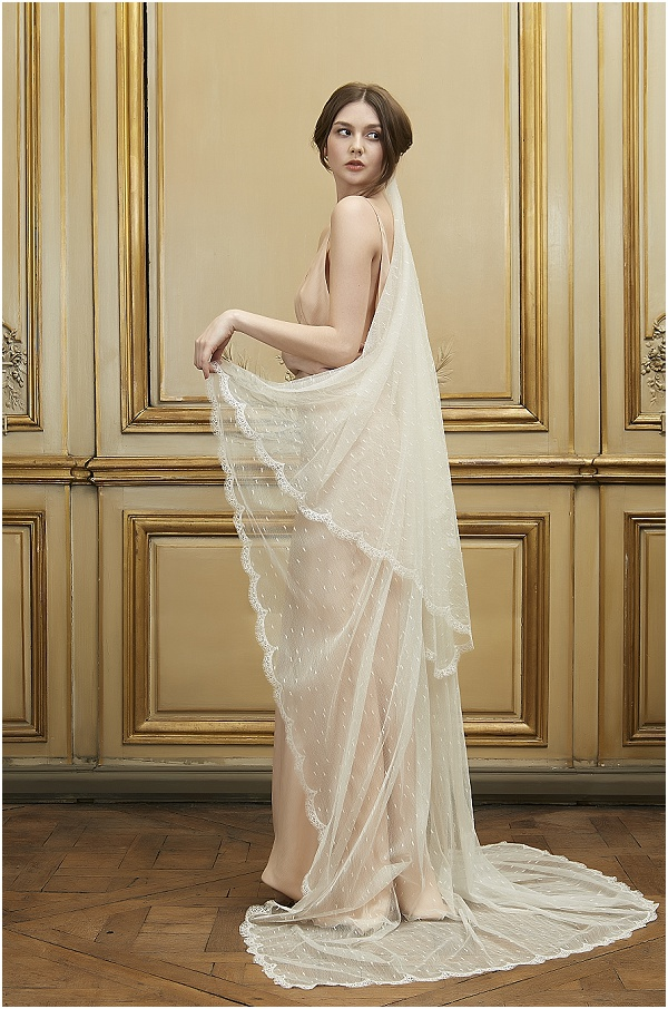 peach wedding dress by Delphine Manivet